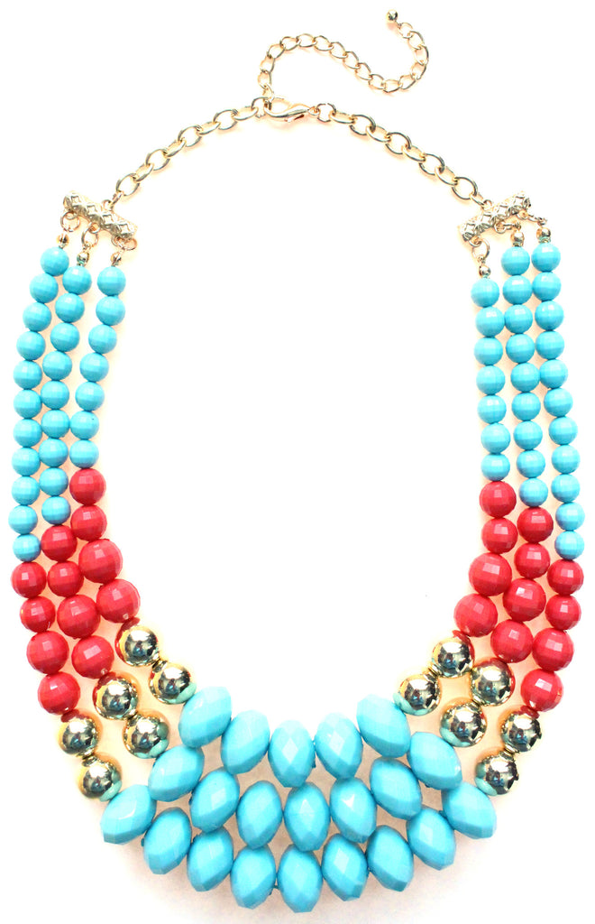 Beaded Layered Statement Necklace- Turquoise  & Coral