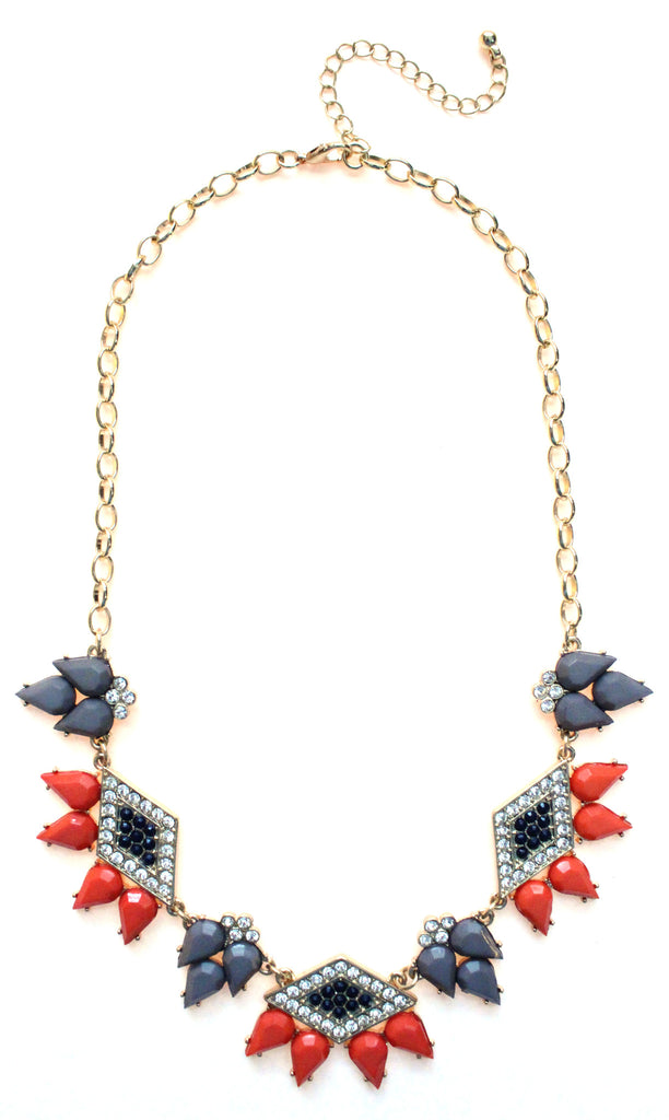 Spike Diamond Necklace- Gray & Coral