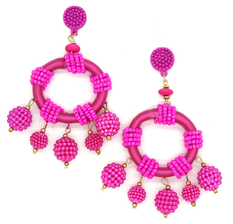 Dulce Hoop Earrings- Hot Pink