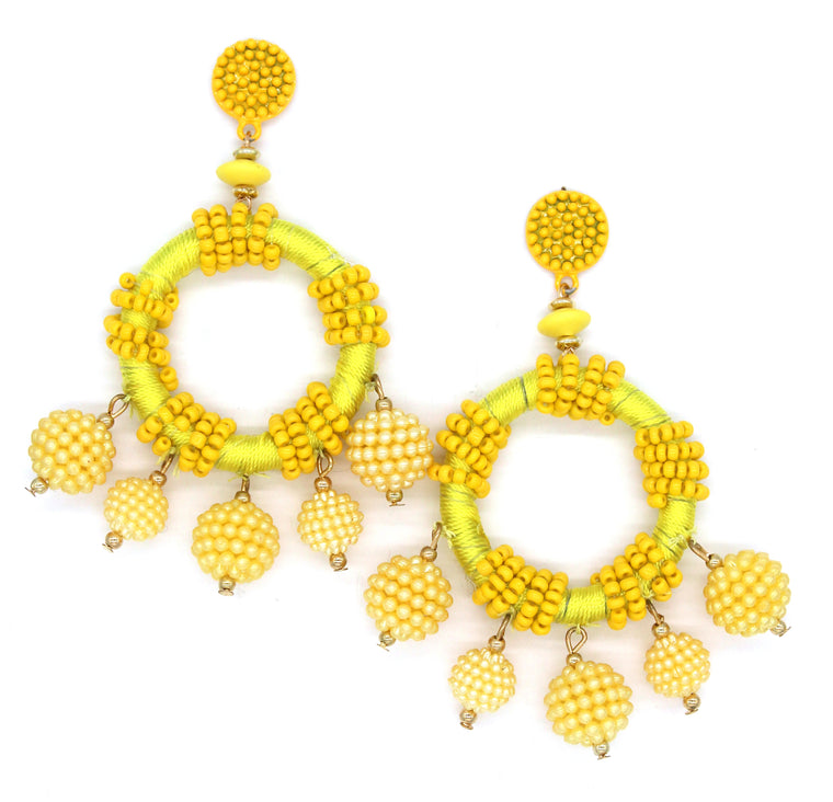 Dulce Hoop Earrings- Yellow
