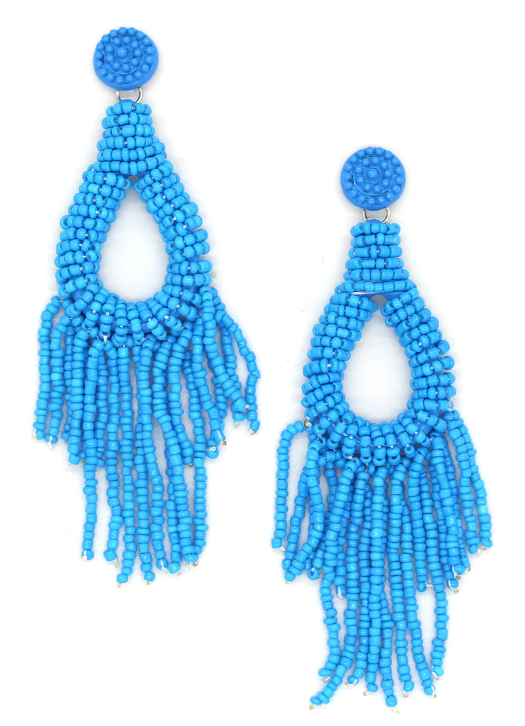 Sandy Beaded Tassel Earrings- Blue