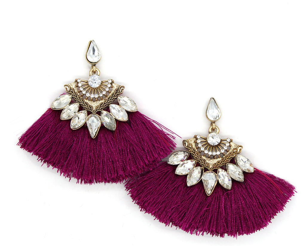 Vera Fan Tassel Earrings