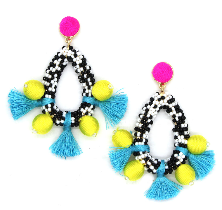 Madeline Joy Statement Earrings- Yellow/ Turquoise