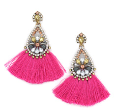 Azariah Fringe Earrings- Pink