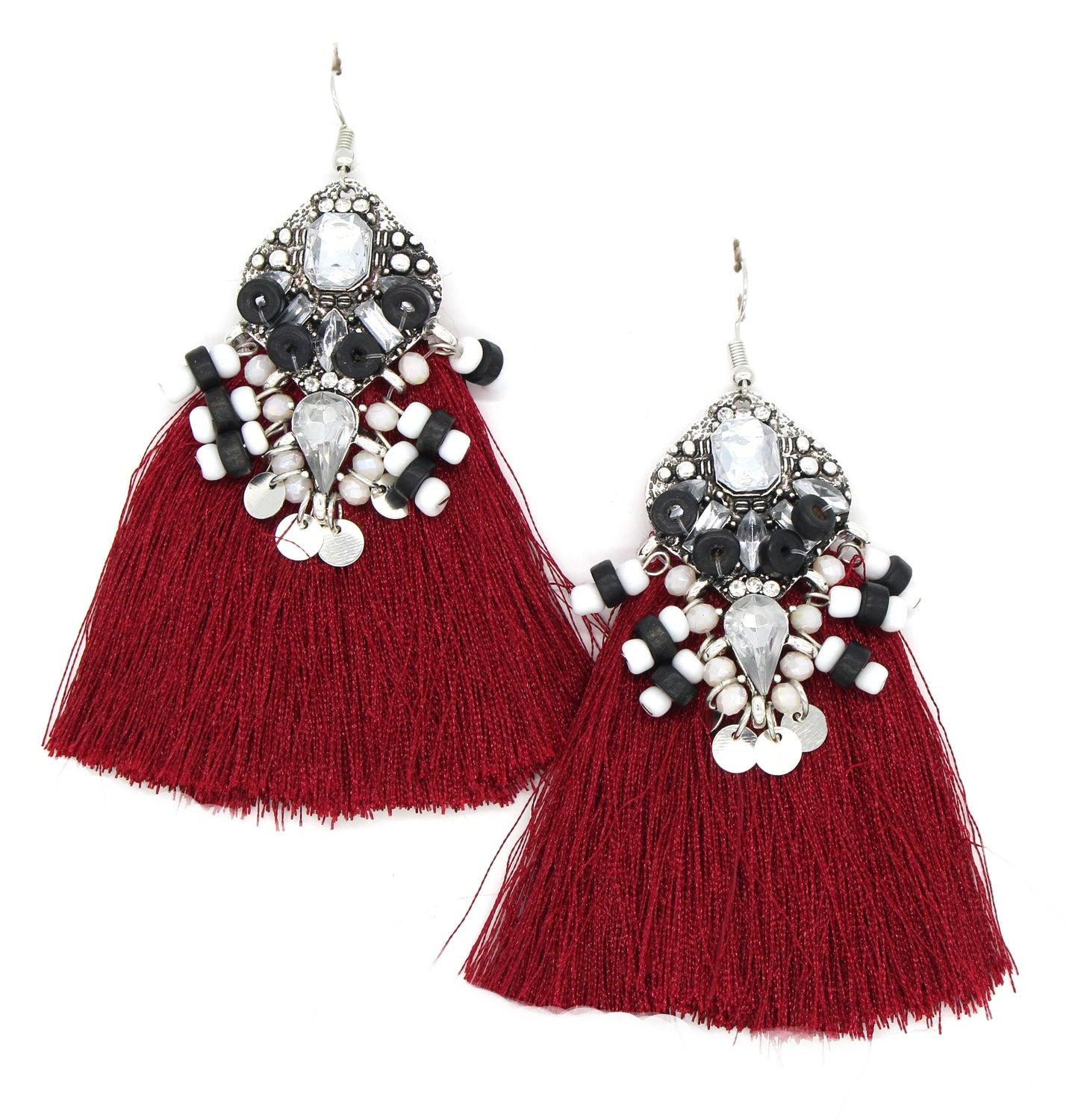 Amelia Tassel Earrings- Red
