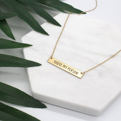 YOU'RE MY PERSON Engraved Bar Necklace- Gold