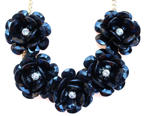 Beaded Rosette Statement Necklace- Black