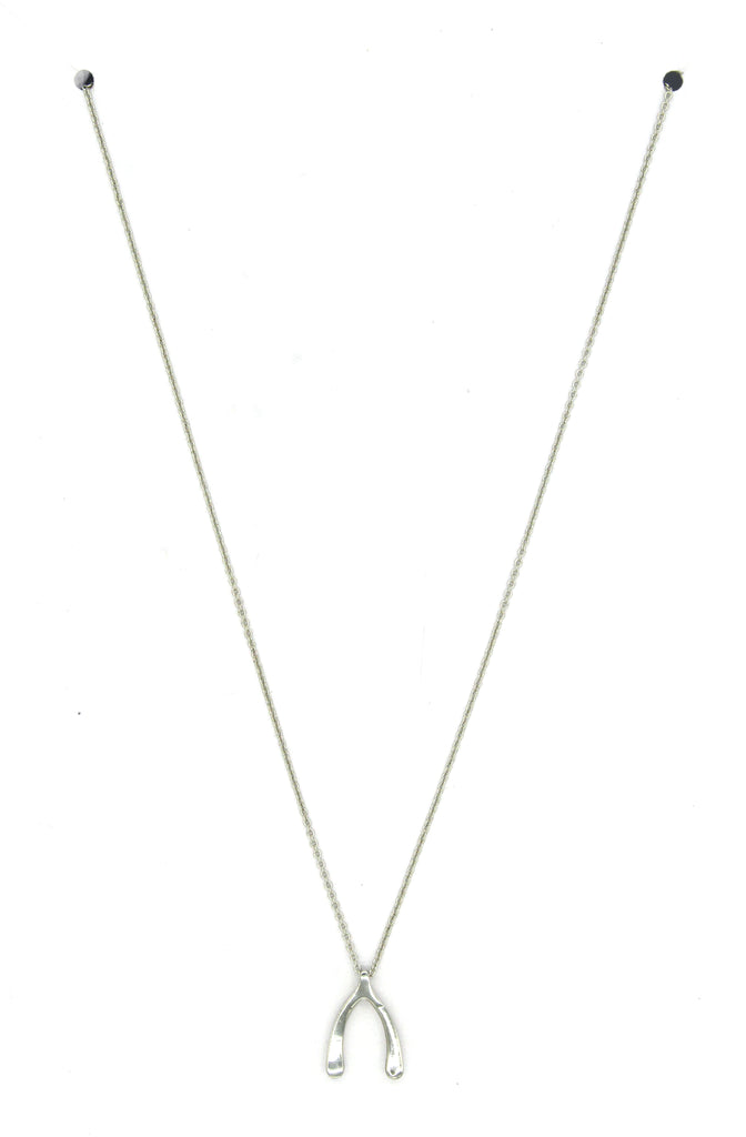 Wishbone Pendant Necklace- Silver