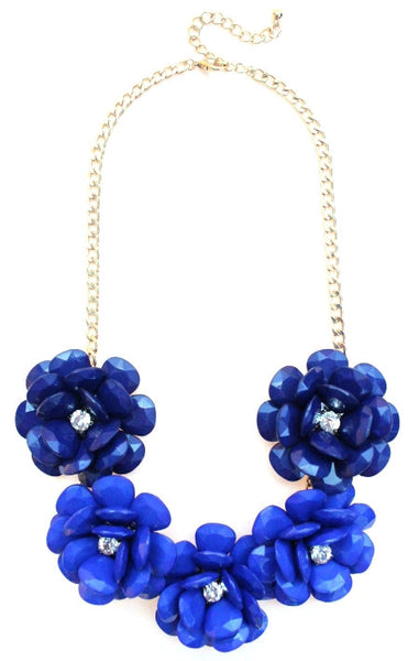 Beaded Rosette Statement Necklace- Royal Ombre