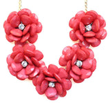 Beaded Rosette Statement Necklace- Watermelon