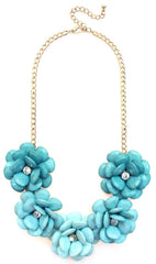Beaded Rosette Statement Necklace- Mint Ombre