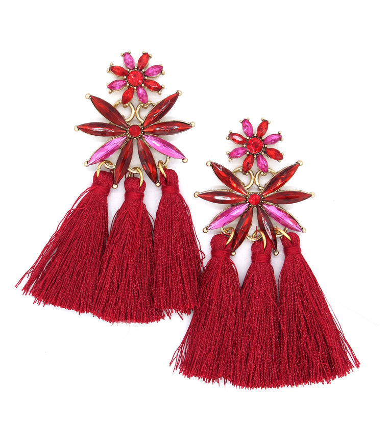 Roxanna Tassel Earrings- Burgundy/Pink