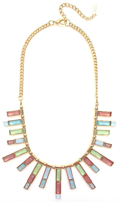 Jeweled Pastel Spike Necklace