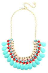 Beaded Layered Teardrop Necklace- Mint