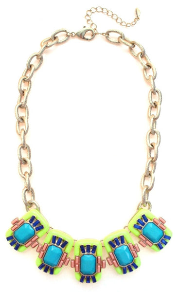 Neon Geo Gemstone Necklace- Yellow