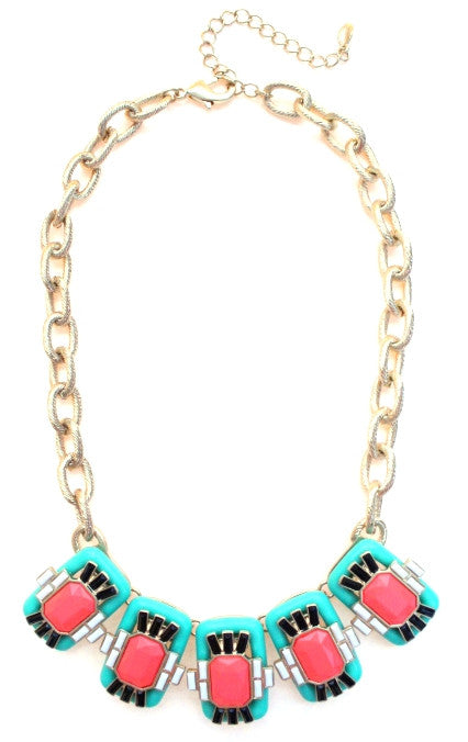 Neon Geo Gemstone Necklace- Mint & Pink