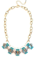Neon Geo Gemstone Necklace- White & Green