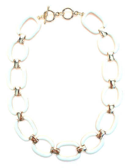 Chain Linked Enamel Necklace- White