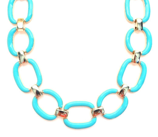 Chain Linked Enamel Necklace- Turquoise