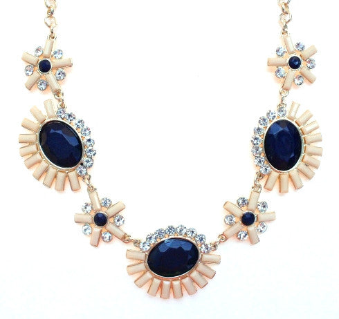 Sunshine Sparkle Necklace- Peach & Navy