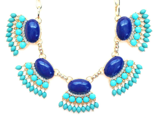 Fan Fringe Statement Necklace- Navy & Turquoise