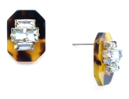 Tortoise & Crystal Stud Earrings
