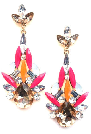 Color Me Elegant Crystal Drop Earrings- Pink