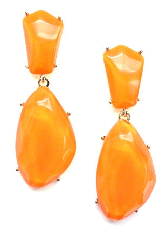 Orange Stone Drop Earrings