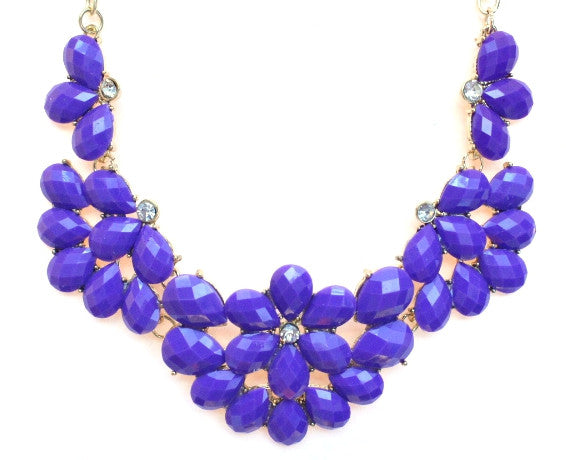 Half Blossom Jeweled Statement Necklace- Purple