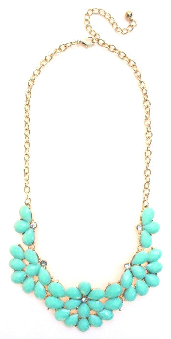 Half Blossom Jeweled Statement Necklace- Mint