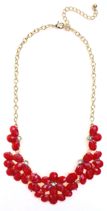 Half Blossom Jeweled Statement Necklace- Red