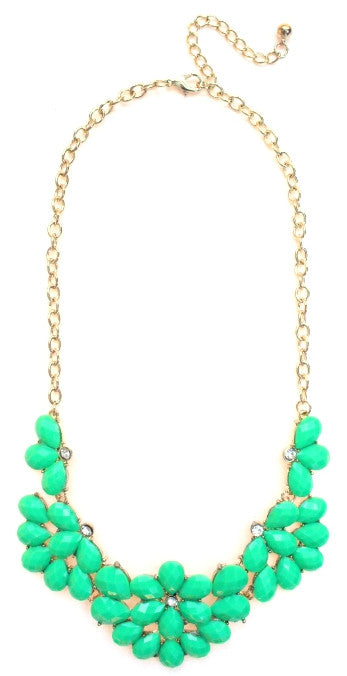 Half Blossom Jeweled Statement Necklace- Green