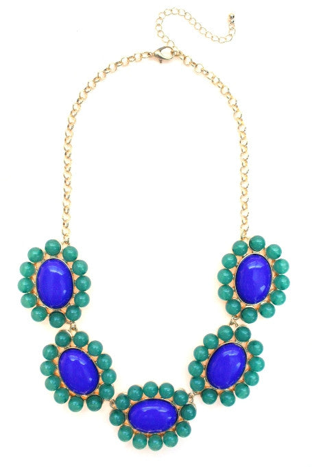 Floral Colorblock Bauble Gemstone Necklace- Royal & Green