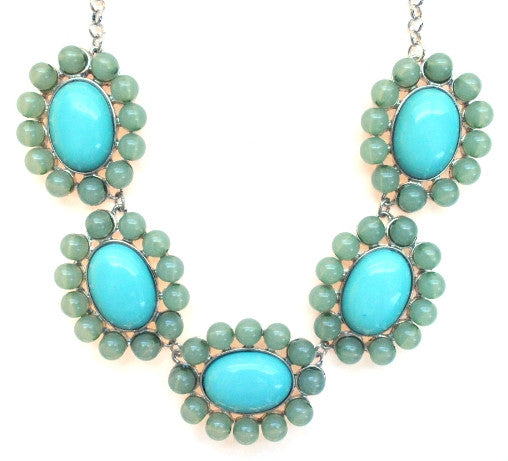 Floral Colorblock Bauble Gemstone Necklace- Mint