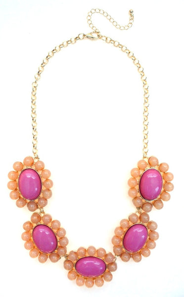 Floral Colorblock Bauble Gemstone Necklace- Pink & Peach