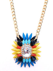 Colorful Sparkle Pendant Necklace- Yellow Multi