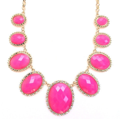 Neon Glamour Jeweled Statement Necklace- Pink