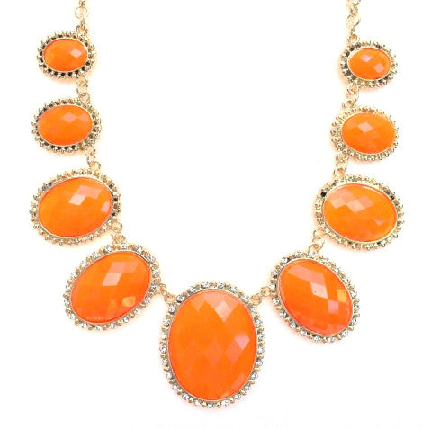 Neon Glamour Jeweled Statement Necklace- Orange
