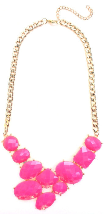 Neon Jeweled Gemstone Statement Necklace- Neon Pink