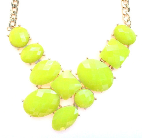 Neon Jeweled Gemstone Statement Necklace- Neon Lime