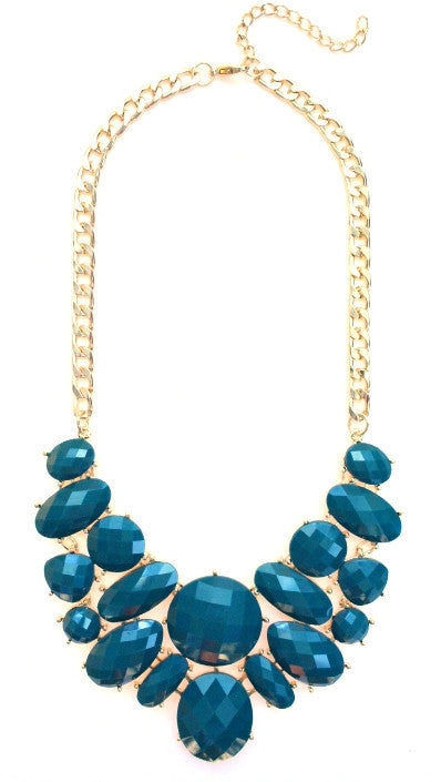 Jeweled Cluster Bib Statement Necklace- Teal