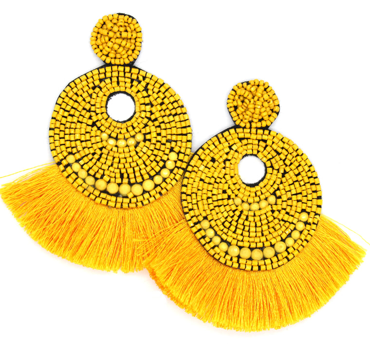 Josie Beaded Tassel Earrings- Yellow