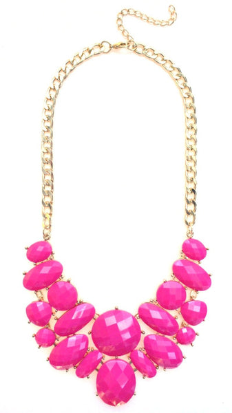 Jeweled Cluster Bib Statement Necklace- Pink