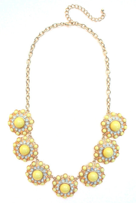 Designer Inspired Circle Necklace- Yellow