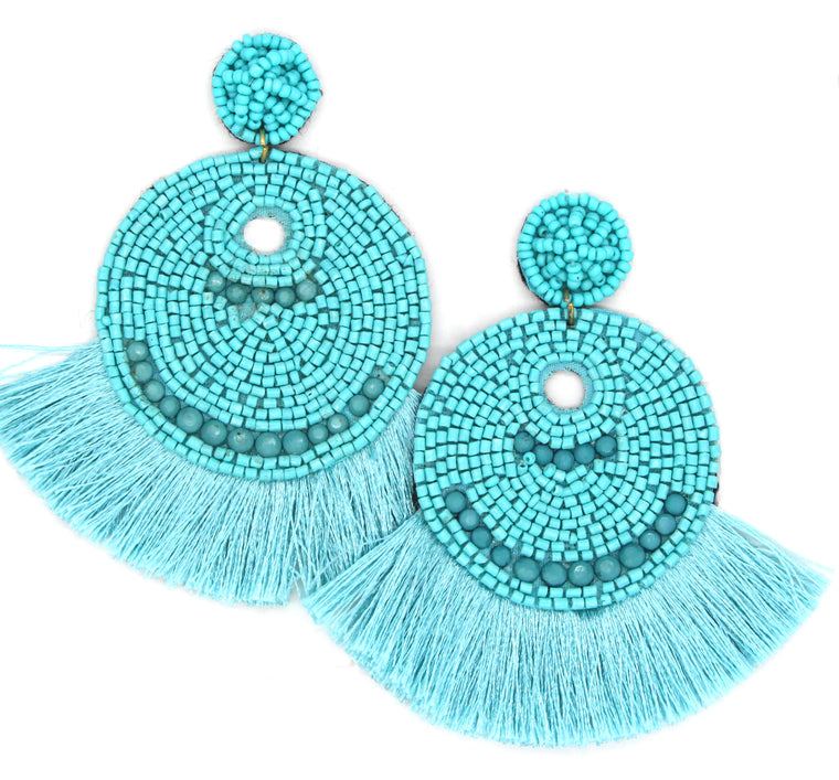 Josie Beaded Tassel Earrings- Turquoise