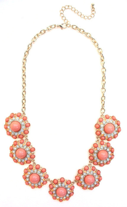 Designer Inspired Circle Necklace- Peach