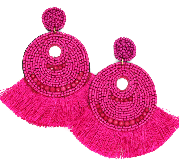 Josie Beaded Tassel Earrings- Pink