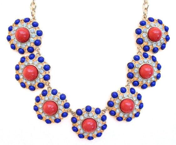 Designer Inspired Circle Necklace- Navy & Red