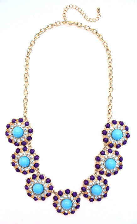 Designer Inspired Circle Necklace- Purple & Turquoise