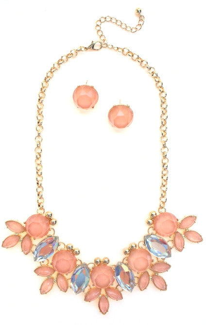 Crystal Statement Necklace- Peach